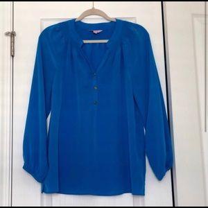 Lily Pulitzer Elsa Blue L Silk Top